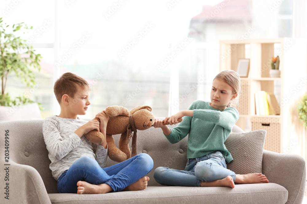 Fototapety, obrazy: Brother arguing with sister on sofa at home