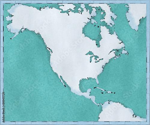 Cartina Fisica Del Nord America.Cartina Del Nord America Disegnata Illustrata Pennellate Cartina Geografica Fisica Cartografia Atlante Geografico Stock Illustration Adobe Stock