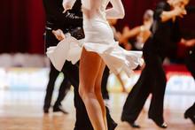 Body Of Female Dancer In White Gown Latino International Dancin