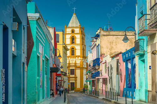 The colorful Calle Ignacio Agramonte in Camagüey, Cuba Canvas Print