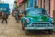 Green vintage car in Trinidad, Cuba
