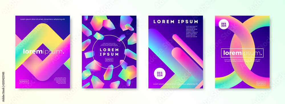 Fototapeta Set of cover design with abstract multicolored gradient shapes. Vector illustration template. Universal abstract design for covers, flyers, banners, greeting card, booklet and brochure.