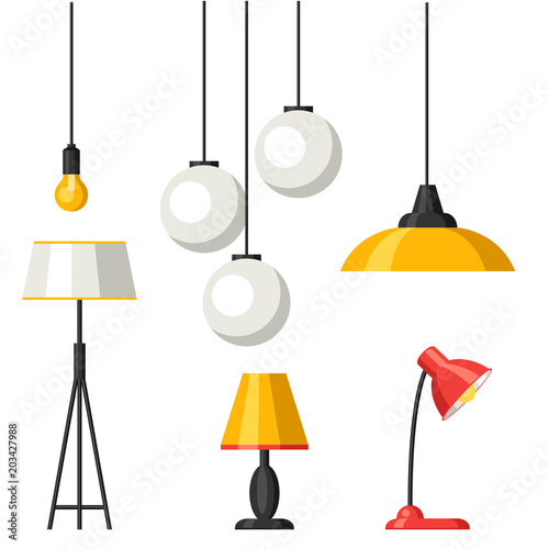 Photo Set of lamps. Furniture chandelier, floor and table lamp