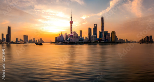 Fotobehang Shanghai The Sunrise's Shanghai Bund Panorama