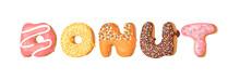 Cartoon Vector Illustration With Word Donut. Hand Drawn Drawing Sweet Bun. Actual Creative Art Work Bake