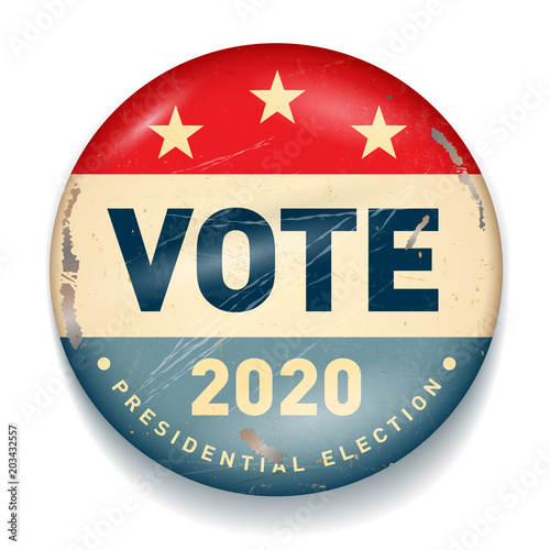 Fotografia  Vintage style 2020 United States of America Presidential Election Button - Vecto