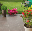 Leinwandbild Motiv Terrasse fleurie d'un jardin