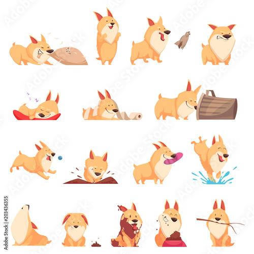 Fotografía  Cartoon Cute Puppy Set