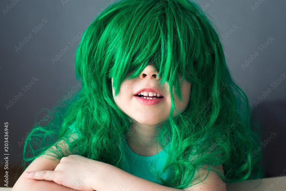Photo   Art Print kid green wig close eyes  b81fe0673748