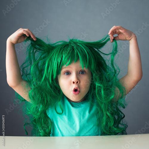 funny kid green wig