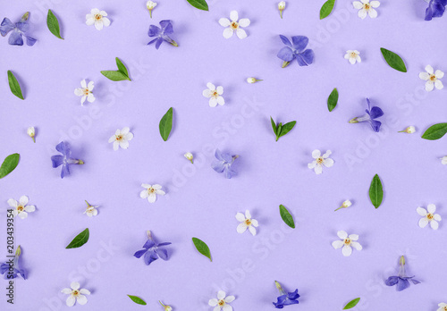 Fotobehang Bloemen Floral pattern made of spring white and violet flowers, green leaves and buds on pastel lilac background. Flat lay. Top view.