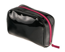 Women's Patent Leather Black Vanity Case Isolated On White Background