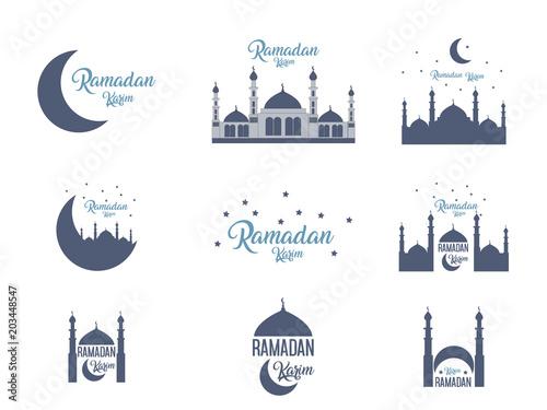 Ramadan Kareem islamic greeting design Icons set logo illustrations Isolated on background Tableau sur Toile