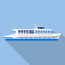 Travel River Ship Icon. Flat Illustration Of Travel River Ship Vector Icon For Web Design