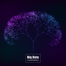 Big Data Visualization. Glowing Tree Vector