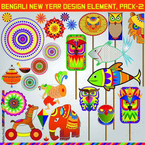 Fototapety, obrazy: Bangali New Year Design element pack 2, this elements can be use to make Banner, poster, or online content faster.