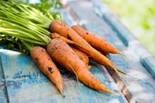 Carrots On A Vintage Wooden Ba...