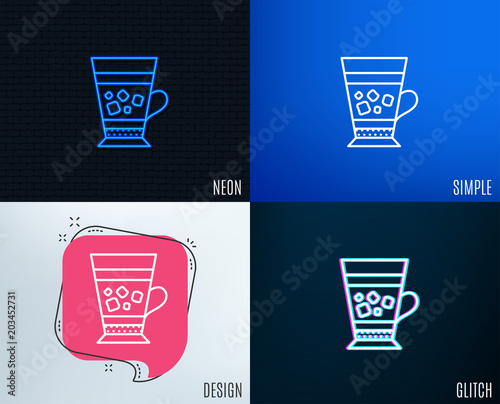 Glitch Neon Effect Frappe Coffee Icon Cold Drink Sign Beverage