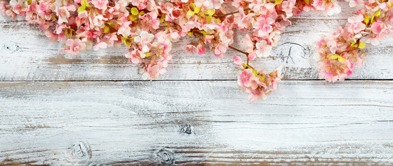 Panel Szklany PodświetlaneBlooming cherry blossom flowers on white vintage wood in overhead view for spring concept