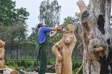 Homem, Artesão, Esculpindo Um...