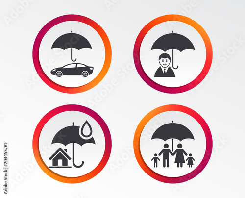Family, Real estate or Home insurance icons  Life insurance