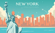 Statue of Liberty. New York landmark and symbol of Freedom and Democracy. Vector