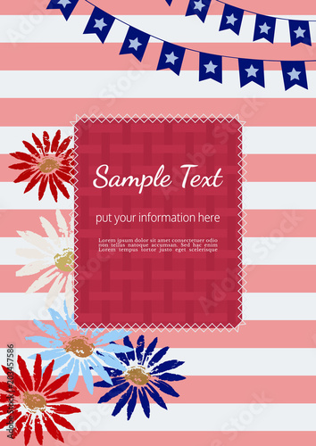 Template Design Poster Blank Text Frame Hand Drawn Flowers