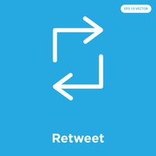 Retweet Icon Isolated On Blue ...