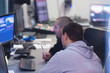 Coworking process, designer, engineer team working modern office
