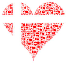 Love Denmark Heart Illustration