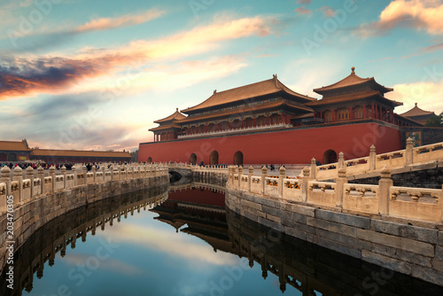 Aluminium Prints Peking Forbidden City in Beijing ,China. Forbidden City is a palace complex and famous destination in central Beijing, China.