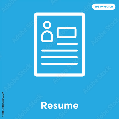 Resume Icon Isolated On Blue Background Buy This Stock Vector