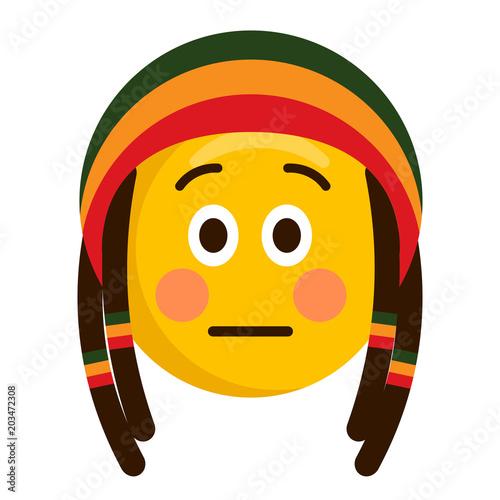 Cuadros en Lienzo Serious emoji with a reggae hat