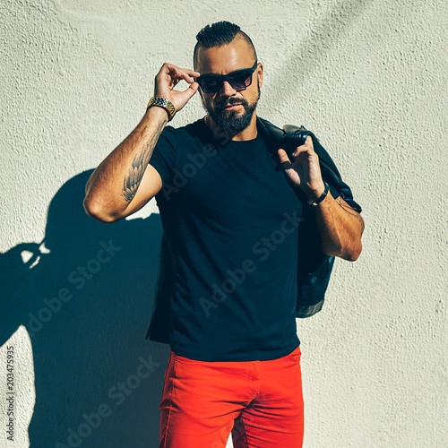 Stylish beard man wearing sunglasses Canvas Print