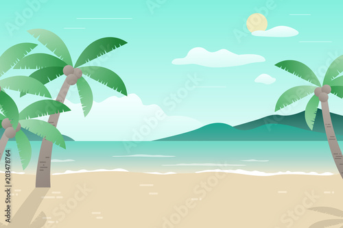 Canvas Prints Green coral Summer landscape illustration in the flat style.
