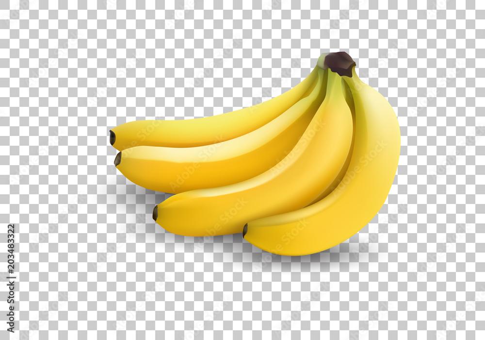 Fotografie, Obraz realistic illustration bananas, 3d vector icons