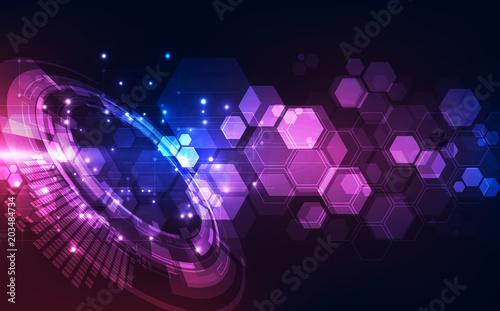 Fotografie, Tablou  Vector Abstract futuristic high digital technology blue color background, illust