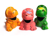 Colorful Dinosour Made From Recycle Paper Called Paper Mache To Save Environment