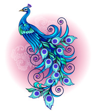 Vector Illustration, Modification Of A Blue Peacock, A Long Tail With A Decorative Style.