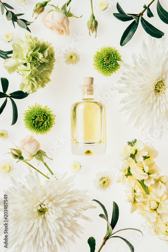 Fotografie, Tablou top view of bottle of aromatic perfume surrounded with flowers and green branche