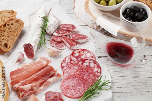 Fototapeta Salami, sausage, prosciutto and wine obraz