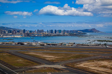 Aerial View Of Downtown Honolulu And HNL Airport In Hawaii