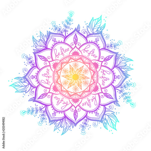Photo sur Aluminium Style Boho Round gradient mandala on white isolated background. Vector boho mandala in green and pink colors. Mandala with floral patterns. Yoga template