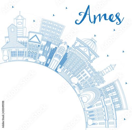 Staande foto Schilderingen Outline Ames Iowa Skyline with Blue Buildings and Copy Space.