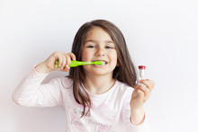 Little Cute Child Girl Brushin...
