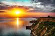 Dramatic sunset at cape Fiolent. Crimea