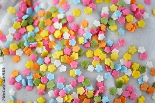 Keuken foto achterwand Snoepjes colorful multicolored on white glaze