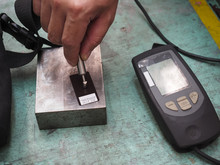 QC Operator Calibrate Thickness Testing Machine Before Inspection Painting Quality And Coating Quality