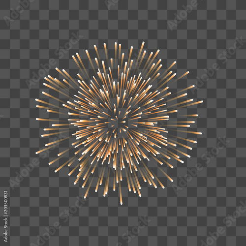 Fototapeta Beautiful gold firework. Couple romantic golden salute, isolated transparent background. Decoration firework for Christmas, New Year, Valentine Day celebration, holiday. Vector illustration obraz