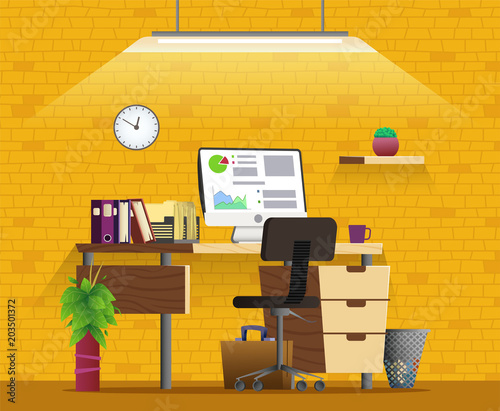 Office Workplace Interior Design. Home Office Concept Illustration.